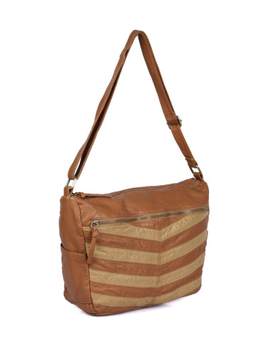 Avery Pre-Washed Women's Stripe Hobo Bag Tan - karlahanson.com