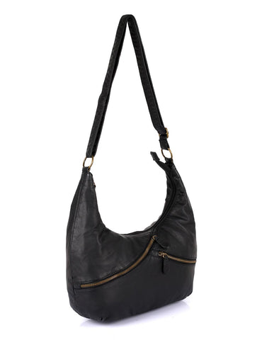 Avery Pre-Washed Women's Hobo Bag Burnt Black with Zippers - karlahanson.com