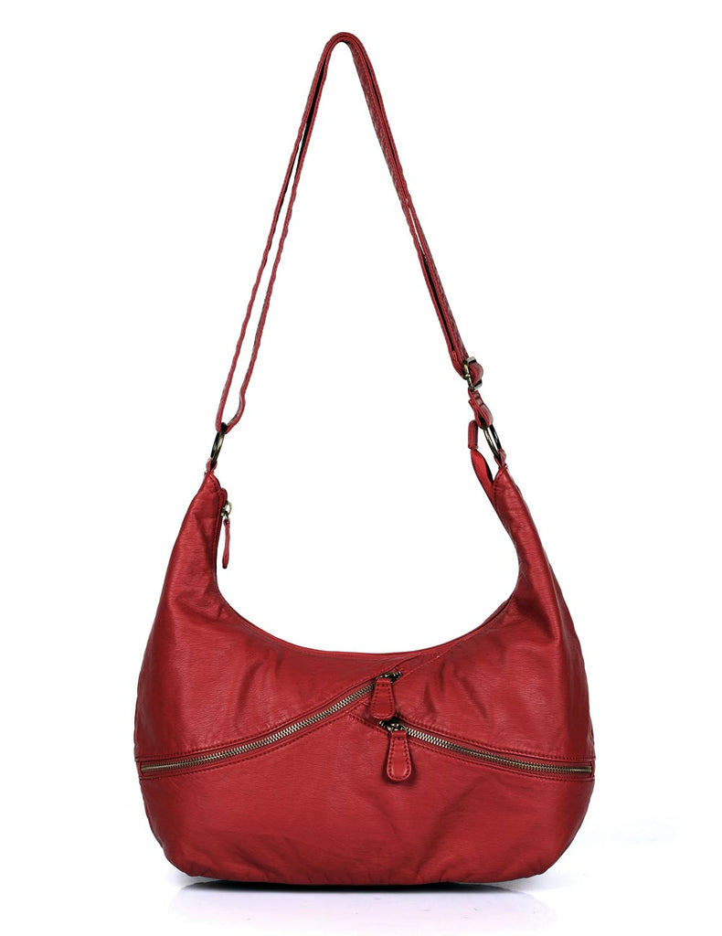 Avery Pre-Washed Women's Hobo Bag Burnt Red with Zippers - karlahanson.com