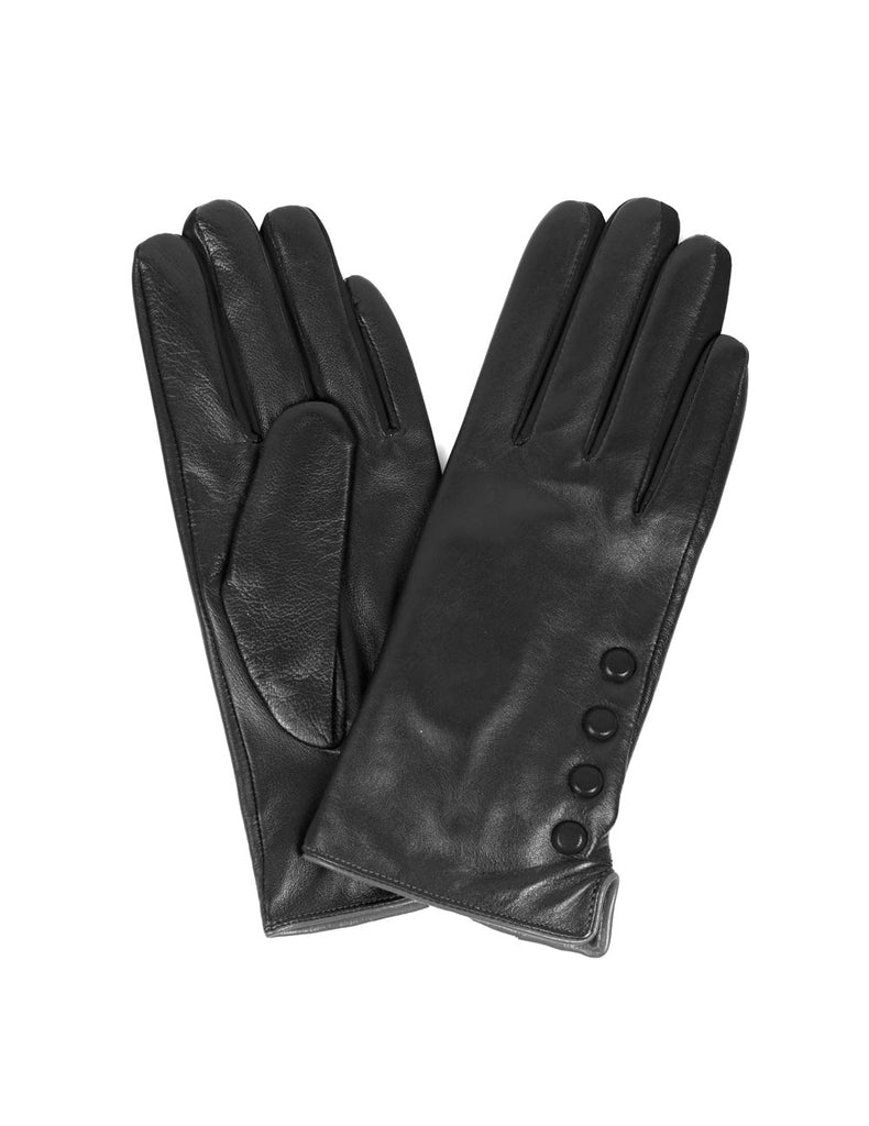 Women's Deluxe Leather Touch Screen Gloves with Buttons