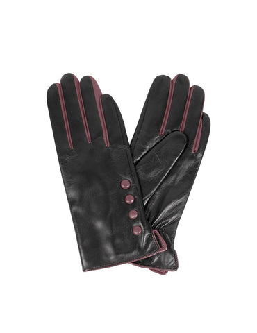 Women's Deluxe Leather Touch Screen Gloves with Buttons - karlahanson.com