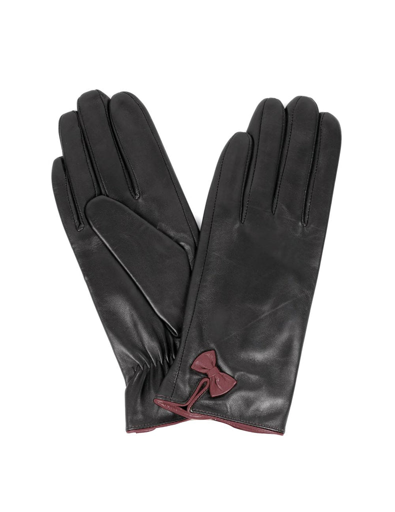 Women's Deluxe Leather Touch Screen Gloves with Bow - karlahanson.com