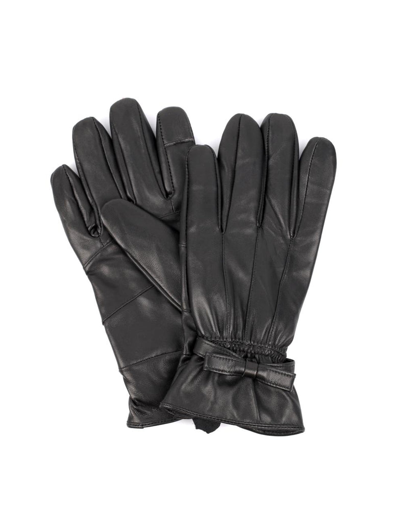 Women's Genuine Leather Touch Screen Gloves with Bow - karlahanson.com