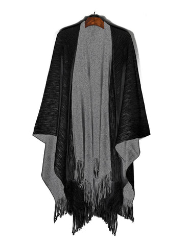 Women's Reversible Knit Poncho Shawl Grey Black - karlahanson.com