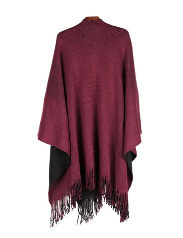 Women's Reversible Knit Poncho Shawl Burgundy Black - karlahanson.com