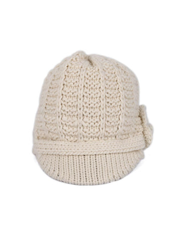 Women's Retro Knit Hat with Floral Embellishment Ivory