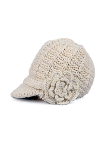 Women's Retro Knit Hat with Floral Embellishment Ivory - karlahanson.com