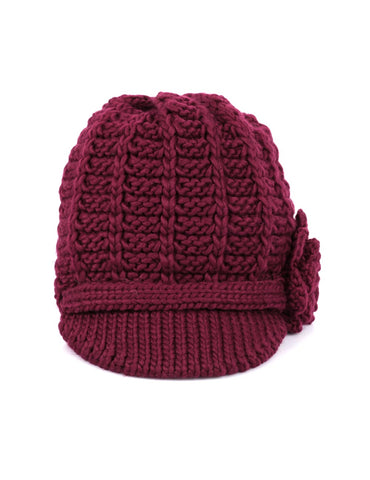 Women's Retro Knit Hat with Floral Embellishment Burgundy - karlahanson.com