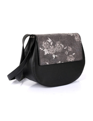Leah Women's Crossbody Saddle Bag Black
