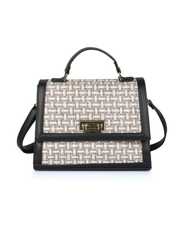 Elena Women's Satchel Bag Black Beige - karlahanson.com