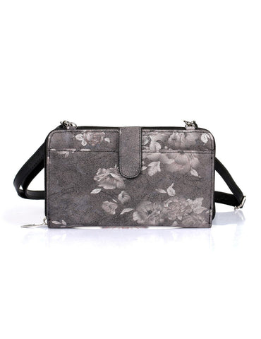 Leah Women's RFID Crossbody Phone Wallet Floral Black - karlahanson.com