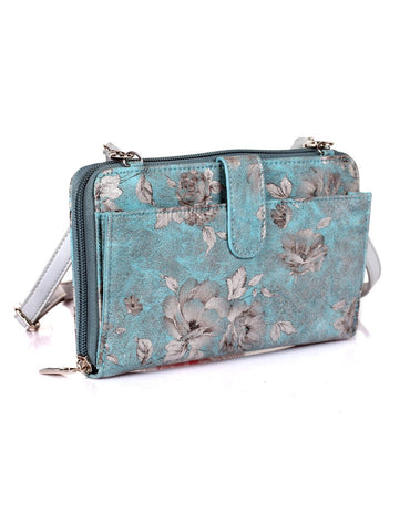 Leah Women's RFID Crossbody Phone Wallet Blue - karlahanson.com