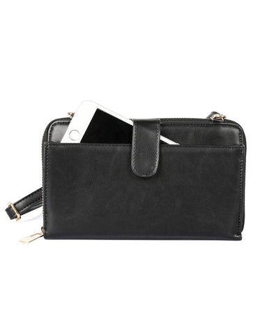Leah Women's RFID Crossbody Phone Wallet Black - karlahanson.com