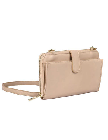 Leah Women's RFID Crossbody Phone Wallet Blush
