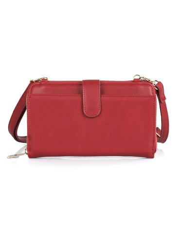 Leah Women's RFID Crossbody Phone Wallet Red