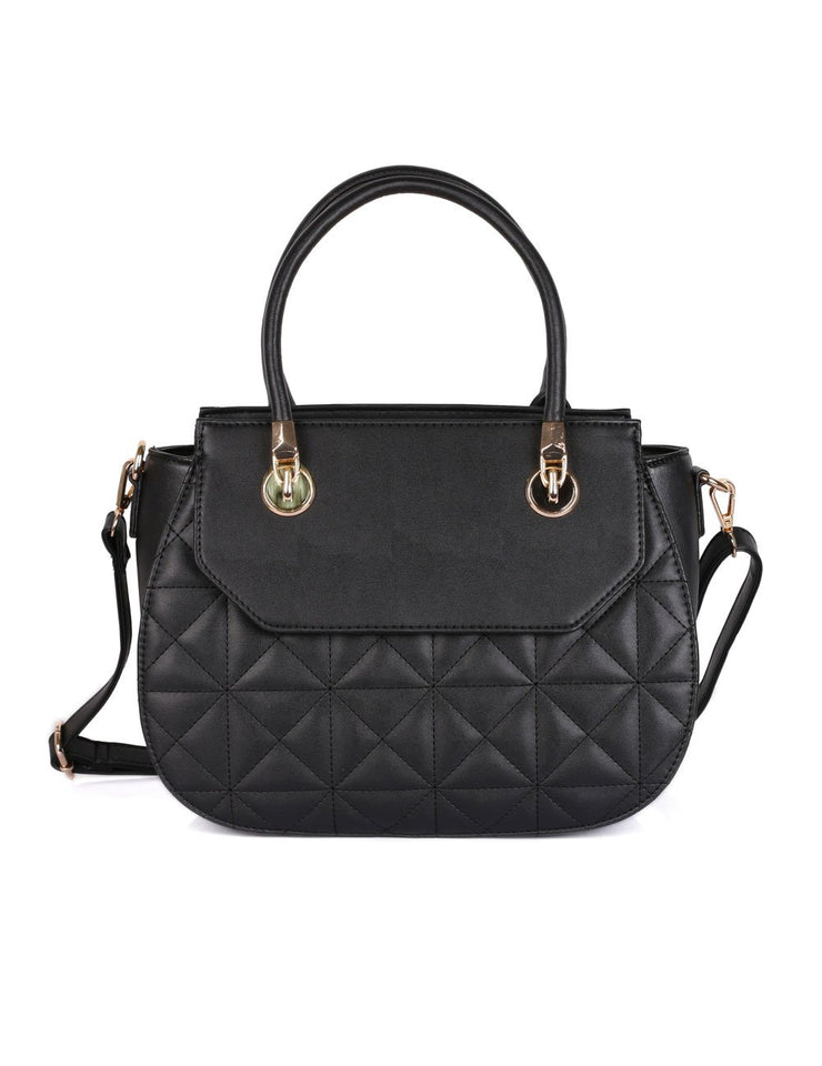 Florence Women s Quilted Satchel Bag Black cbb90c50efd9a