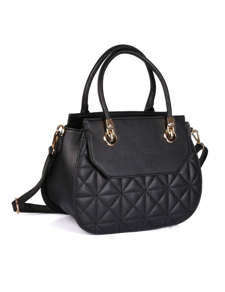 Florence Women's Quilted Satchel Bag Black - karlahanson.com