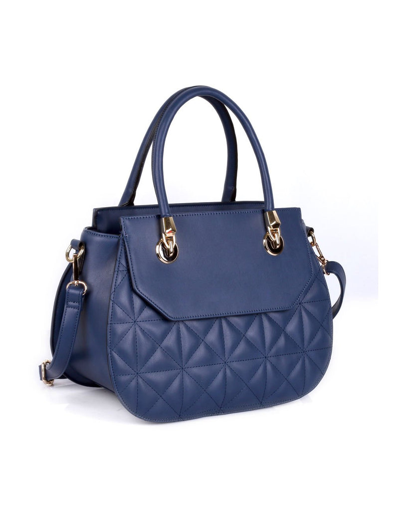 Florence Women's Quilted Satchel Bag Navy - karlahanson.com