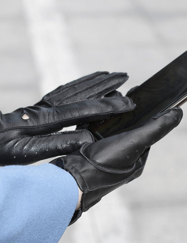 Women's Deluxe Leather Touch Screen Driving Gloves