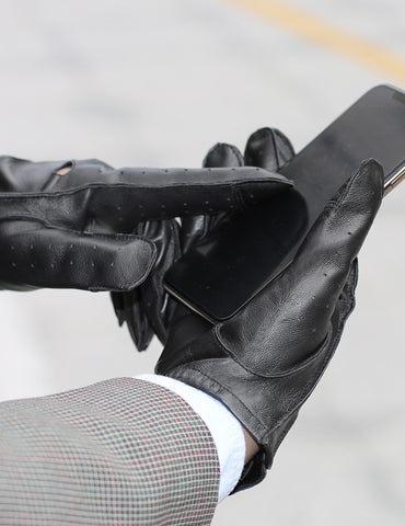 Men's Deluxe Leather Touch Screen Driving Gloves