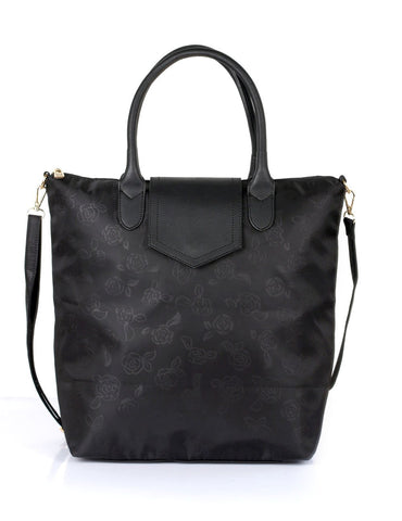 Millie Women's Rose Print Foldable Shopping Bag Black - karlahanson.com