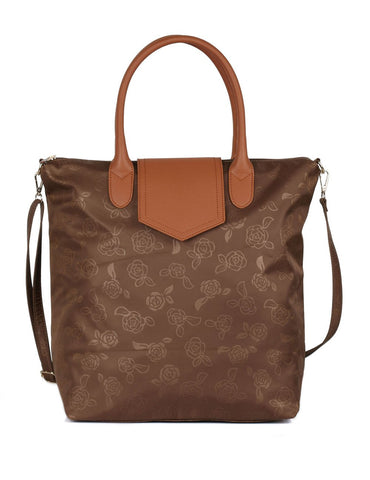 Millie Women's Rose Print Foldable Shopping Bag Brown - karlahanson.com