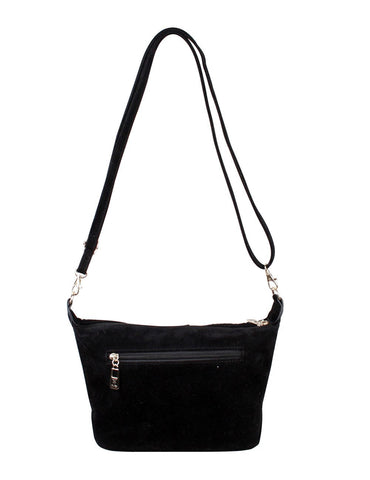 Catherine Women's Faux Suede Crossbody Bag with Rhinestones - karlahanson.com