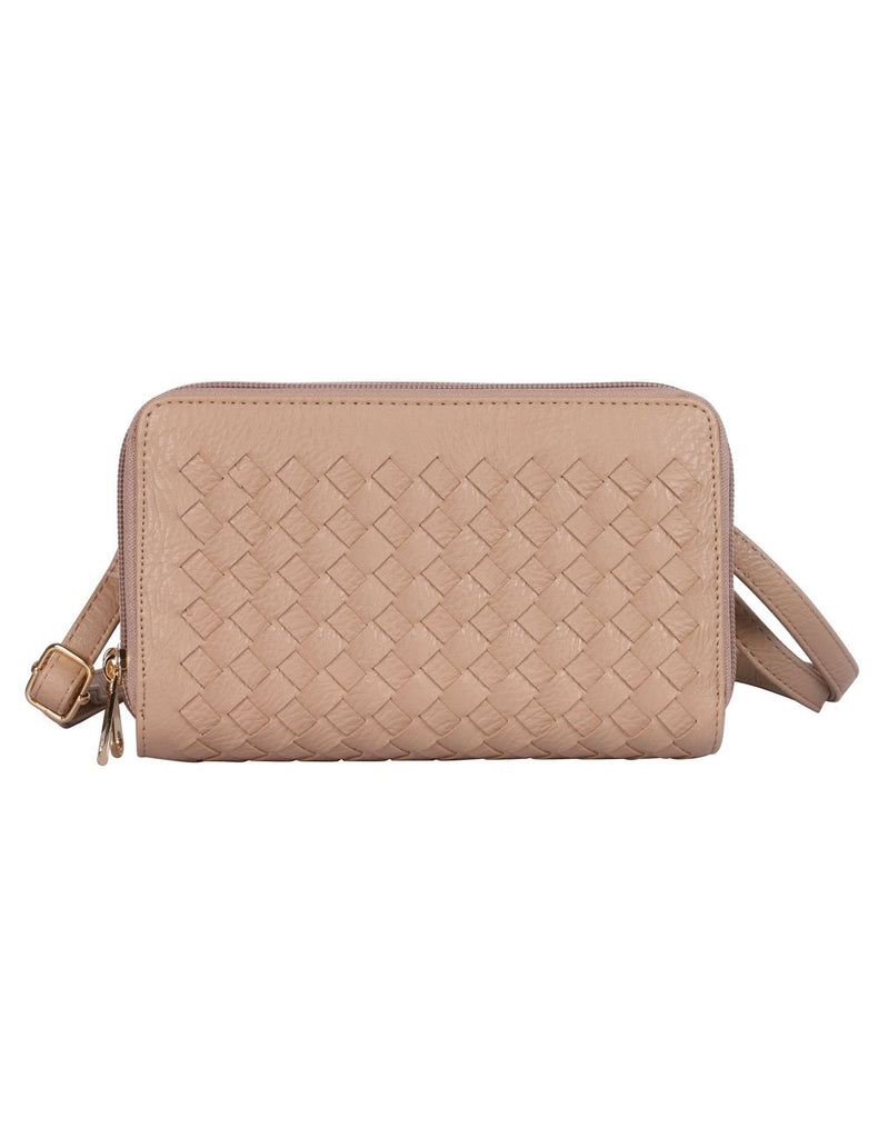 Ellen RFID Blocking Woven Crossbody Phone Wallet Taupe - karlahanson.com