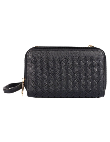 Ellen RFID Blocking Woven Crossbody Phone Wallet Black - karlahanson.com