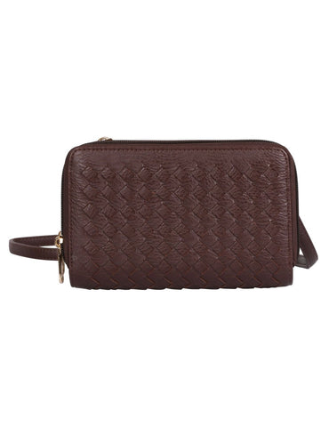 Ellen RFID Blocking Woven Crossbody Phone Wallet Mahogany