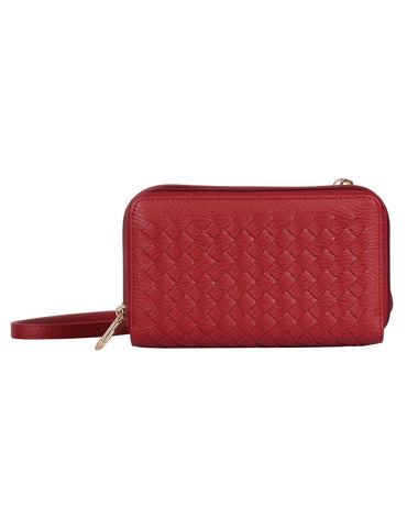 Ellen RFID Blocking Woven Crossbody Phone Wallet Red - karlahanson.com