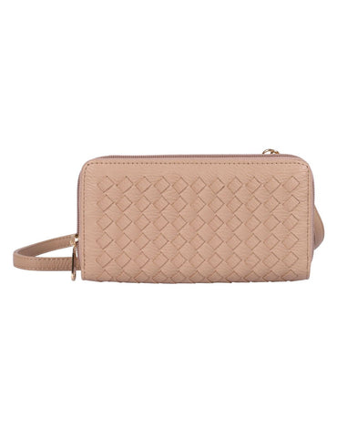 Elle RFID Blocking Woven Crossbody Phone Wallet Taupe