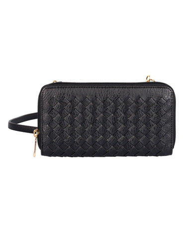 Elle RFID Blocking Woven Crossbody Phone Wallet Black