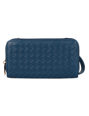 Elle RFID Blocking Woven Crossbody Phone Wallet Blue