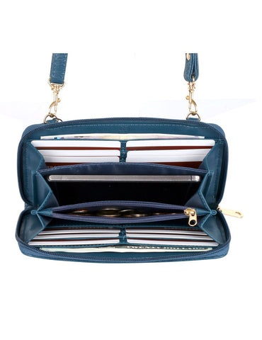 Elle RFID Blocking Woven Crossbody Phone Wallet Blue - karlahanson.com