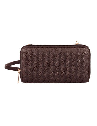 Elle RFID Blocking Woven Crossbody Phone Wallet Mahogany