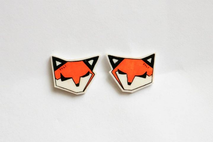 SleepyFox earrings (big)