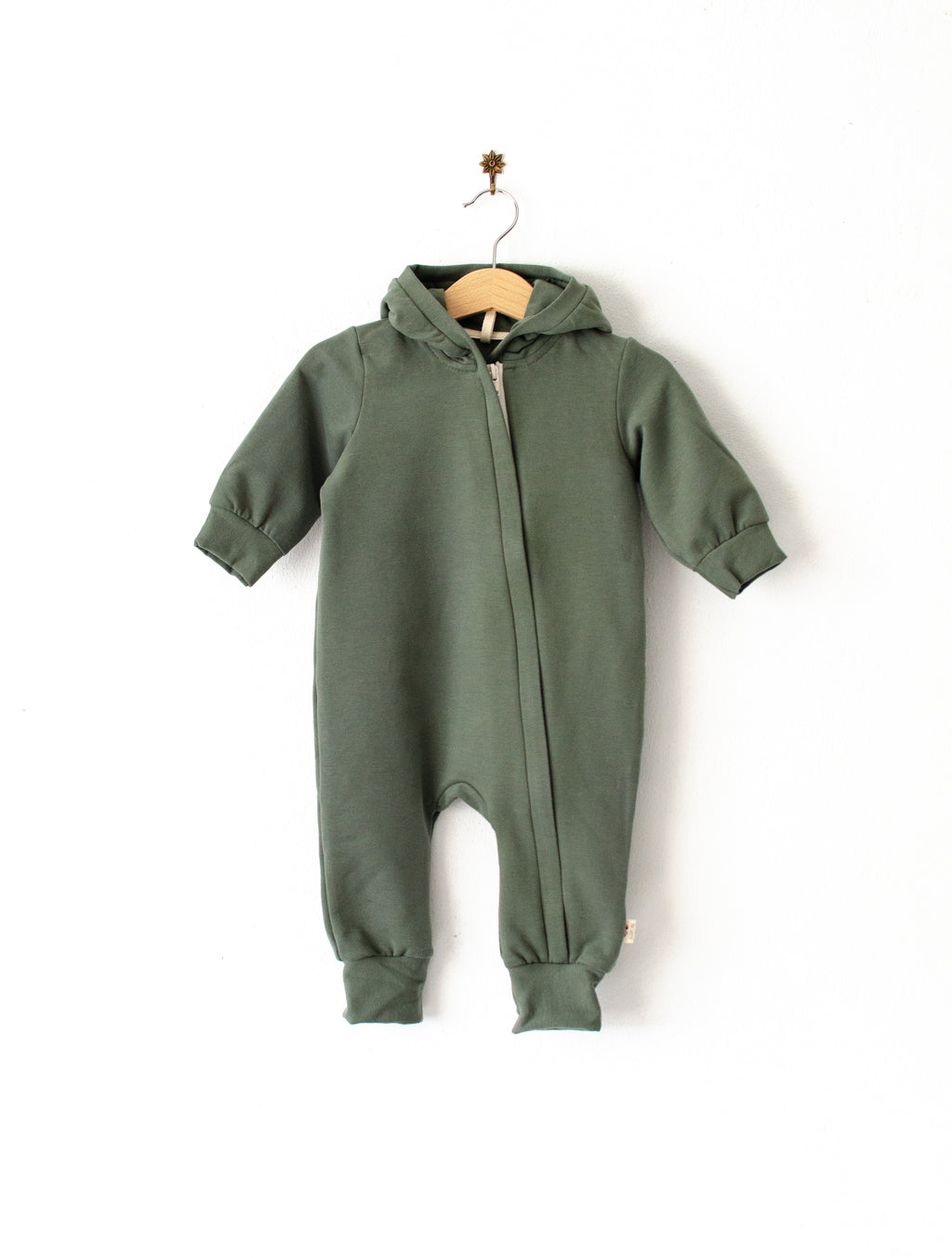 Hooded jumpsuit with a zip