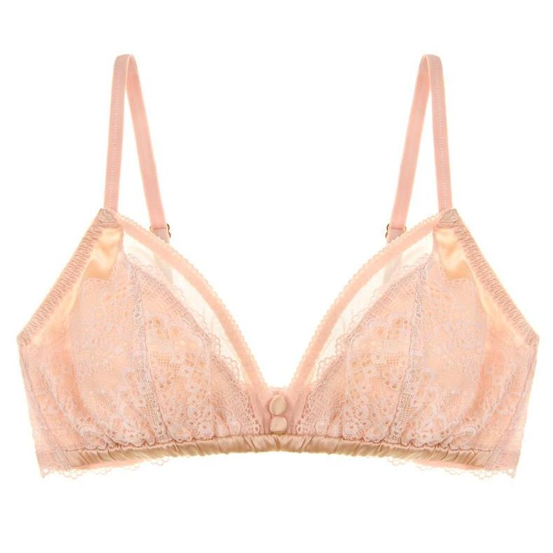 SALE   Pearly Silk Shell Pink Bralette