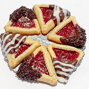 Raspberry Dipped Hamantaschen - Classic Homeys