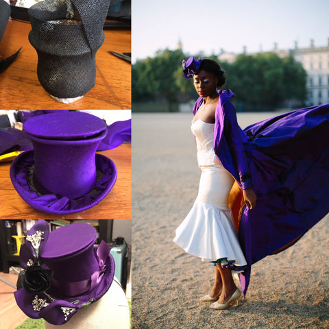 The stages of a mini top hat and the finished city burlesque photoshoot @jenlevetmillinery