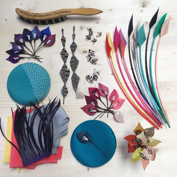 Multiple different colours of millinery materials and trim to choose from