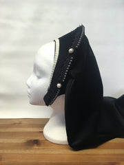 Side view of finished Tudor French Hood made in black velvet with pearl beading and trim
