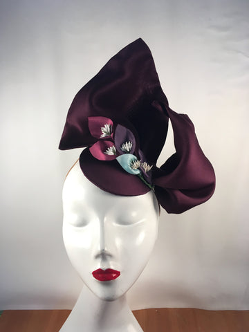 Mother of the bride hat with colour lilies trim detail