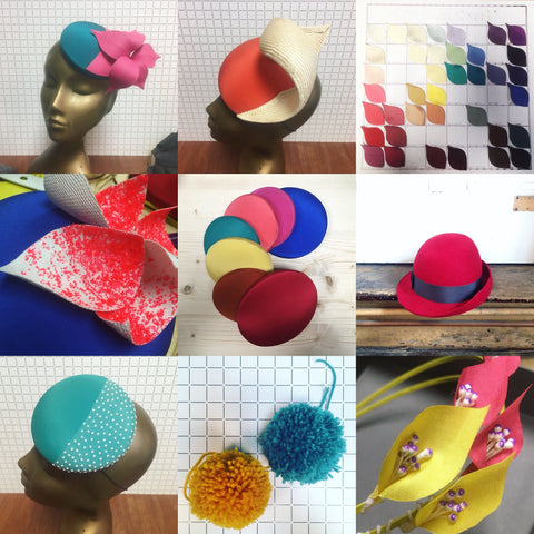 Montage of colour combos and shapes of different hat styles and trims all made at Jen Levet Millinery