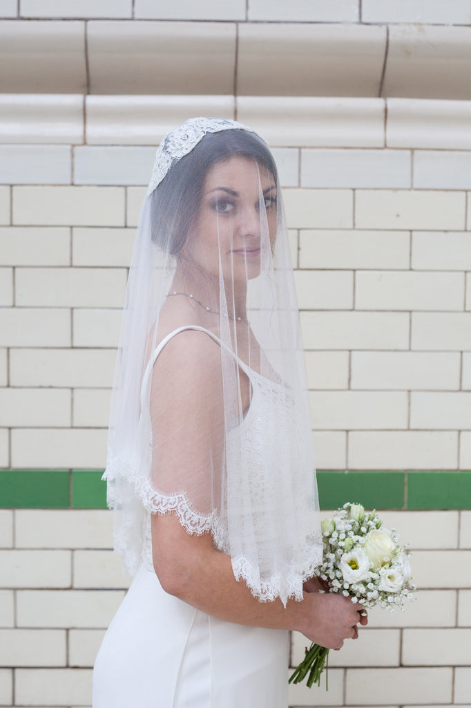 Silk elbow length veil with blusher down