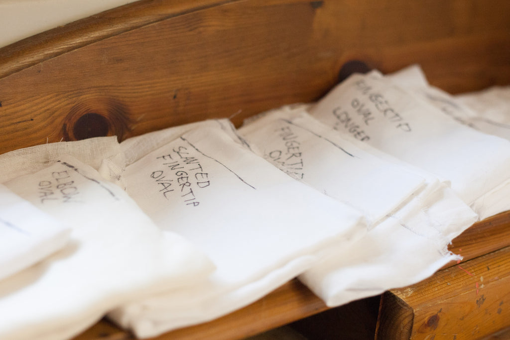 A stash of bridal veil templates labelled by style