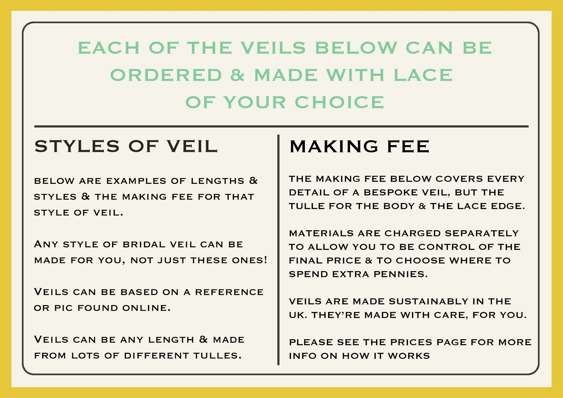 Intro on ordering a bridal veil with bespoke lace