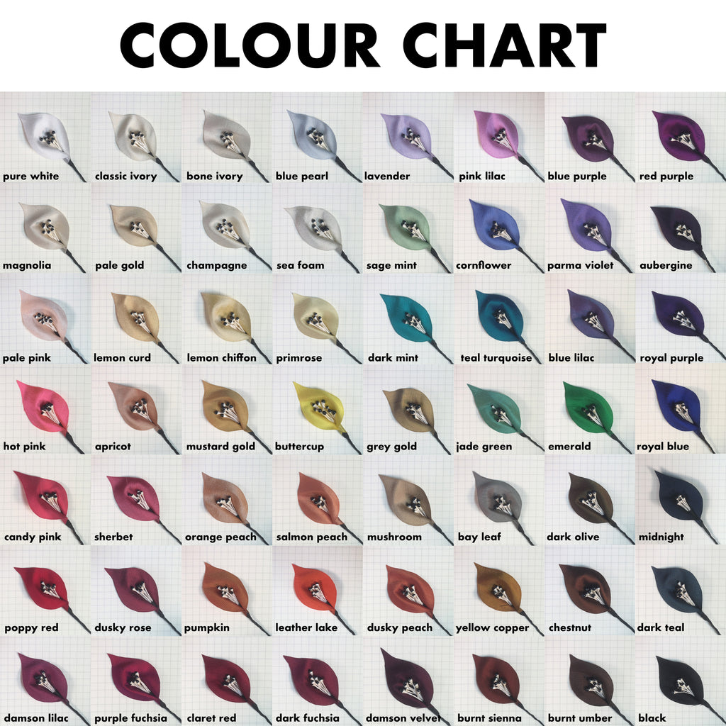 Colour chart of all the petal shades to choose from for colour lilies headpieces