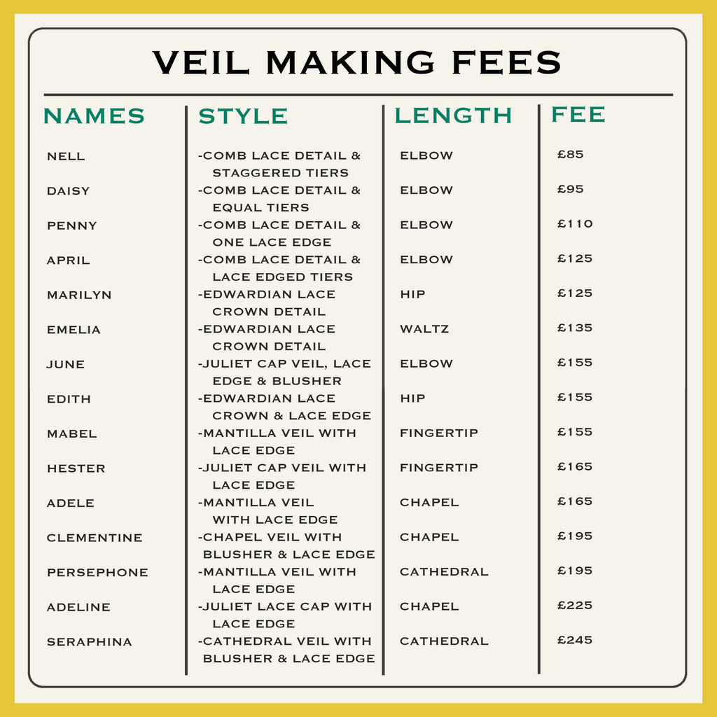 Bespoke Veil Making Fees 2020